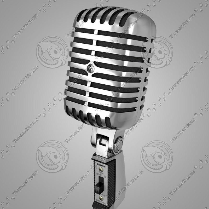 shure 55sh classic microphone 3d max