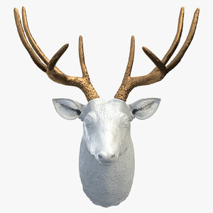 3d white faux taxidermy deer