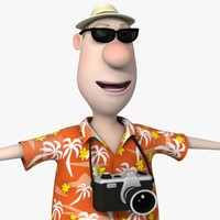 3d model cartoon tourist man character