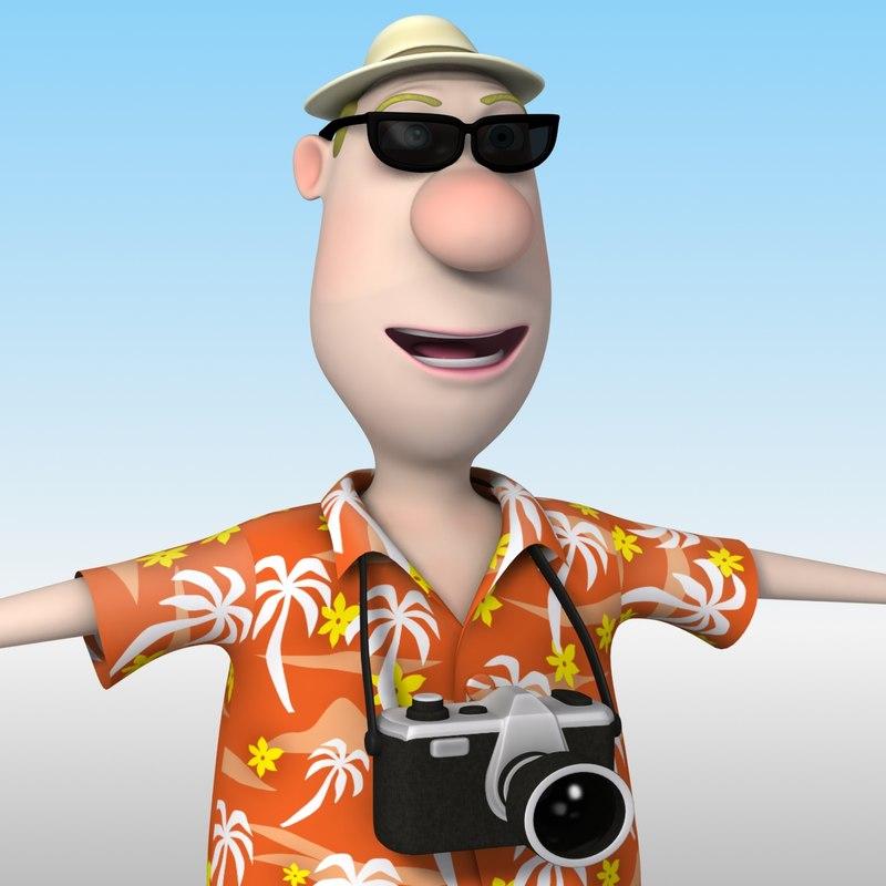 3d model cartoon tourist man character