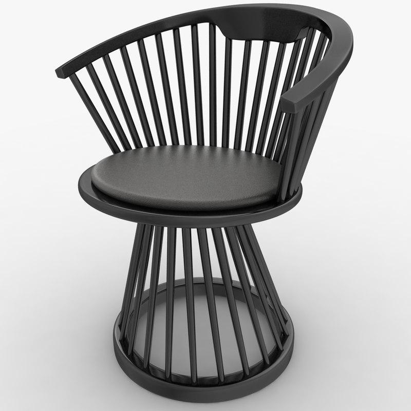 3d realistic fan dining chair model
