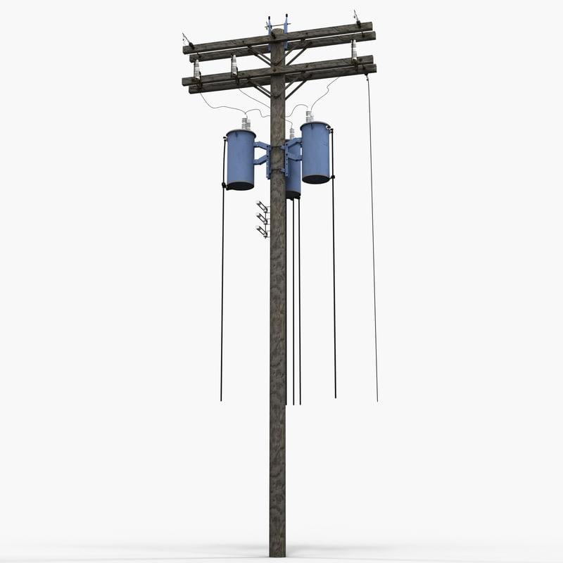 utility pole 3 3d model