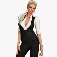 3d blonde business woman character