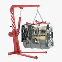 workshop crane engine 3d model