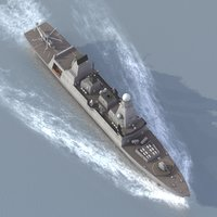 t45 class destroyer merlin helicopter 3d lwo