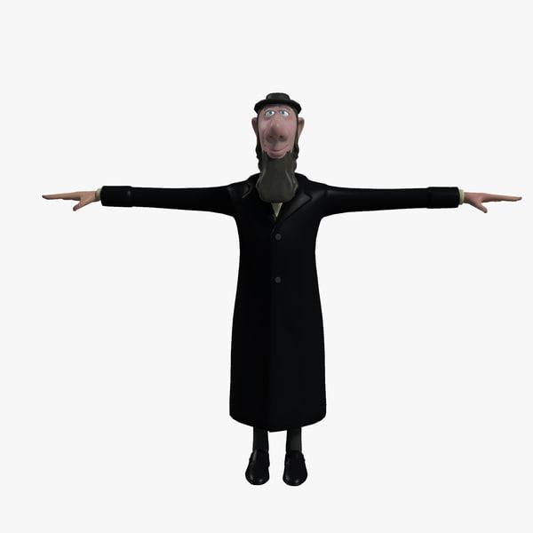 rabbi cartoon character 3d fbx