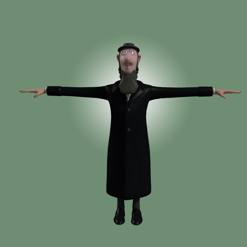 rabbi cartoon character 3d fbx
