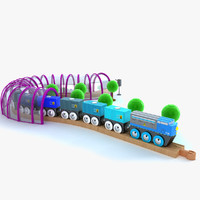 kids train set locomotive 3d model