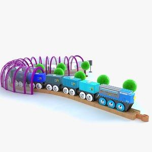 kids train set locomotive 3d model