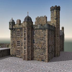 3d edinburgh castle scene model