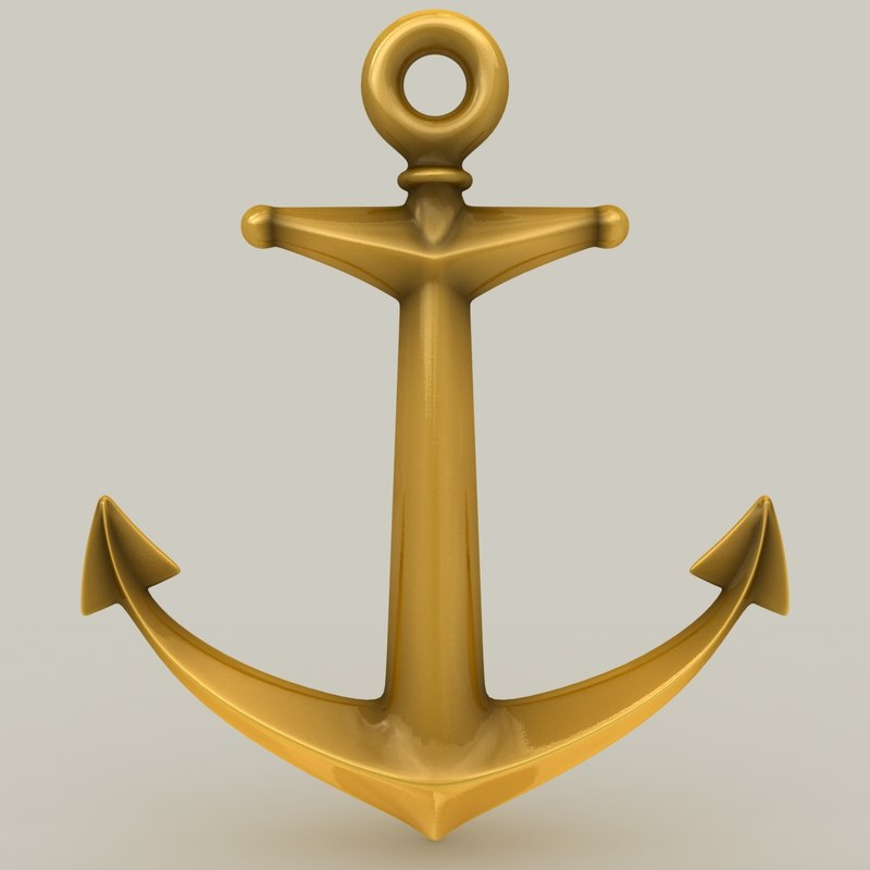 anchor gold black 3d model