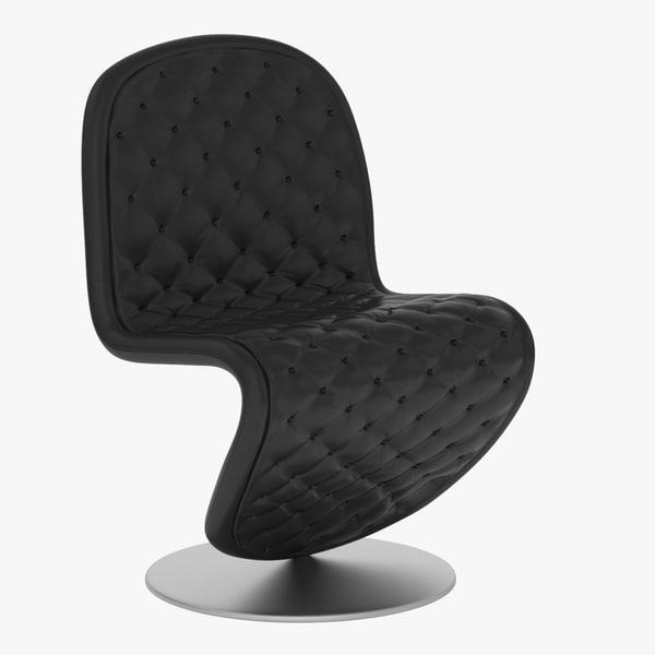 verner panton zigzag leather chair 3d model