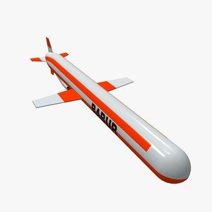 3d model babur cruise missile