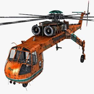 sikorsky s-64 skycrane helicopter 3d max