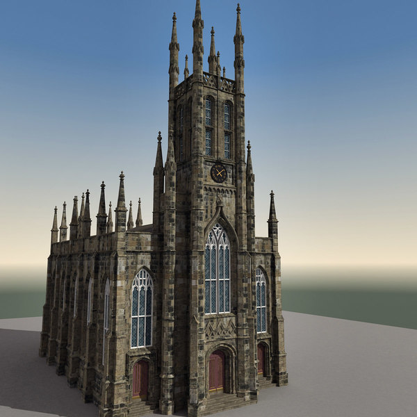 3d model of church edinburgh scene