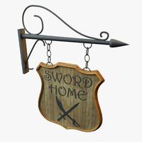 medieval shop panel 3d model