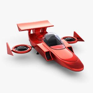 3d future space racing ship model