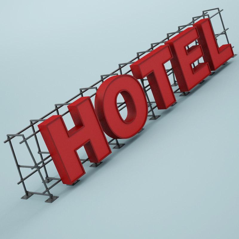 hotel sign 3d max
