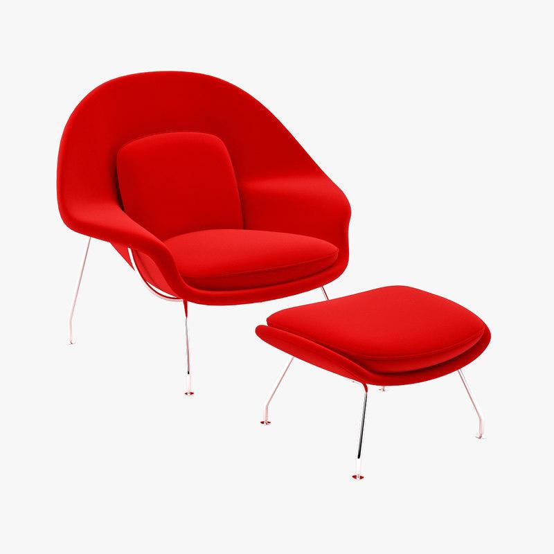 Eero saarinen womb chair 3d model - Saarinen chair knock off ...