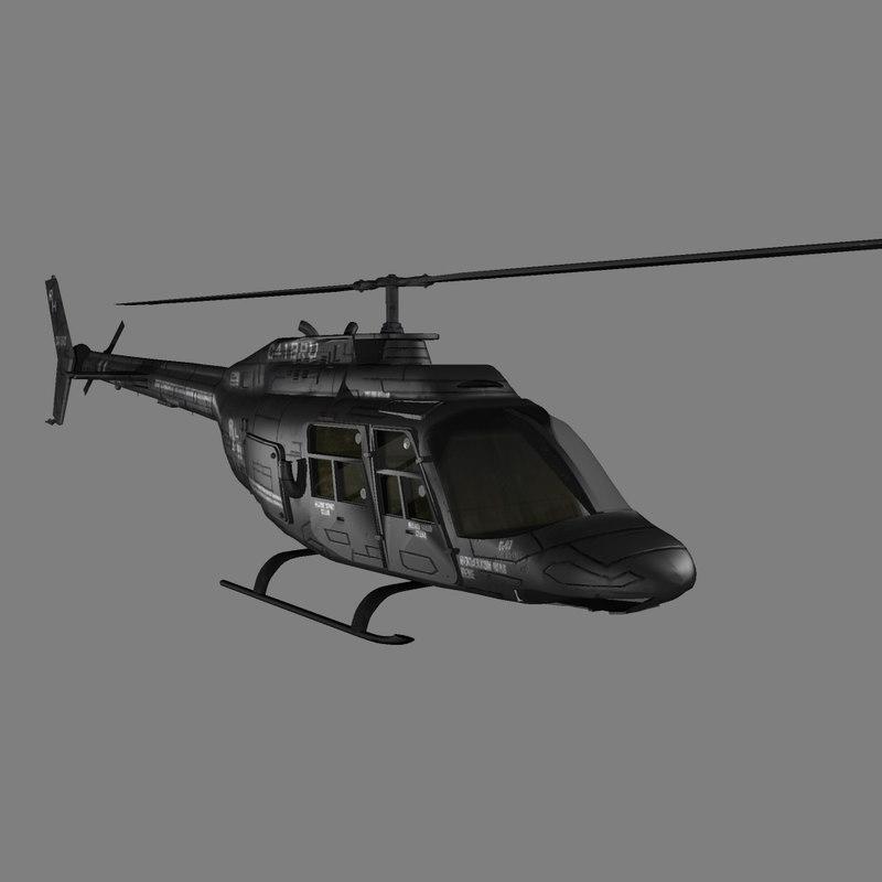 bell jet ranger helicopter 3d model