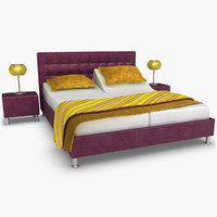 3d model lady adjustable bed purple