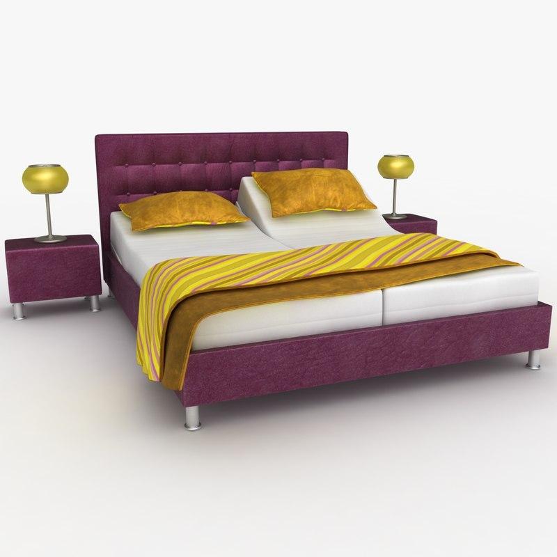 3d model lady adjustable bed purple