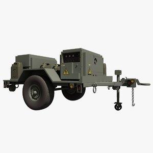 3d model military hmmwv towable mobile