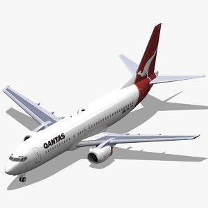 3d model b 737-400 qantas