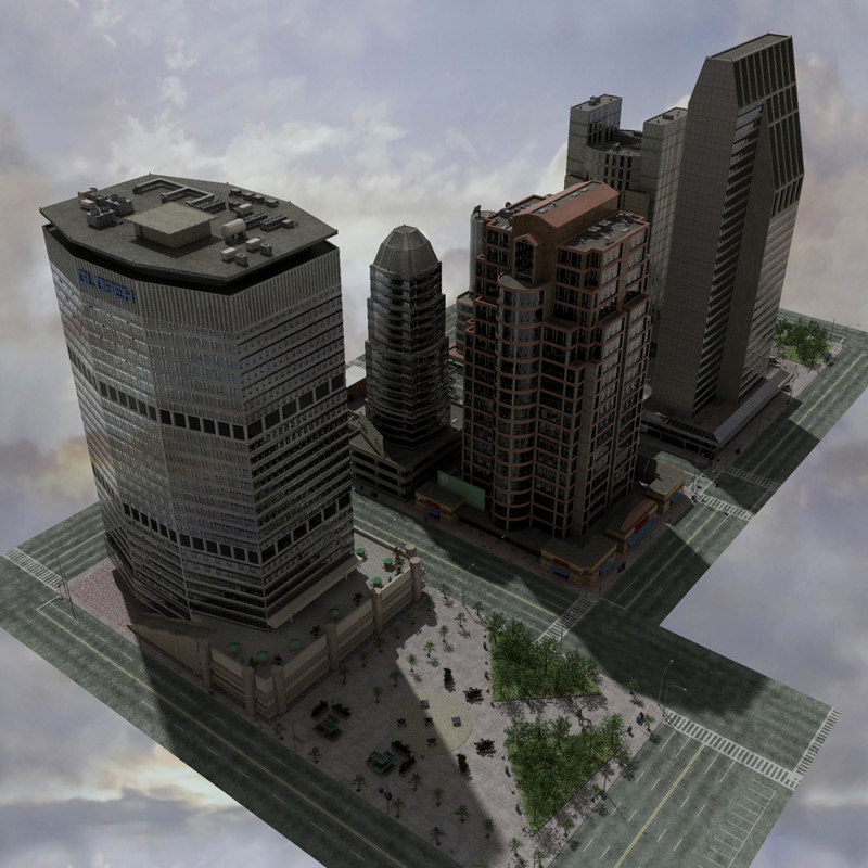 city block skyscrapers max