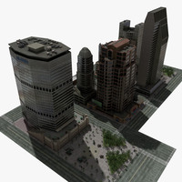 High Resolution Skyscraper City Block
