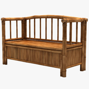 3d bamboo storage bench