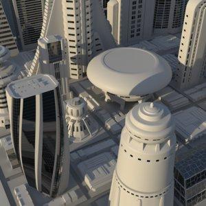 lwo futuristic cityscape