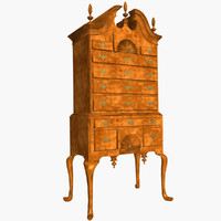 highboy chest queen anne 3d model