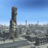 3d model sci fi futuristic city