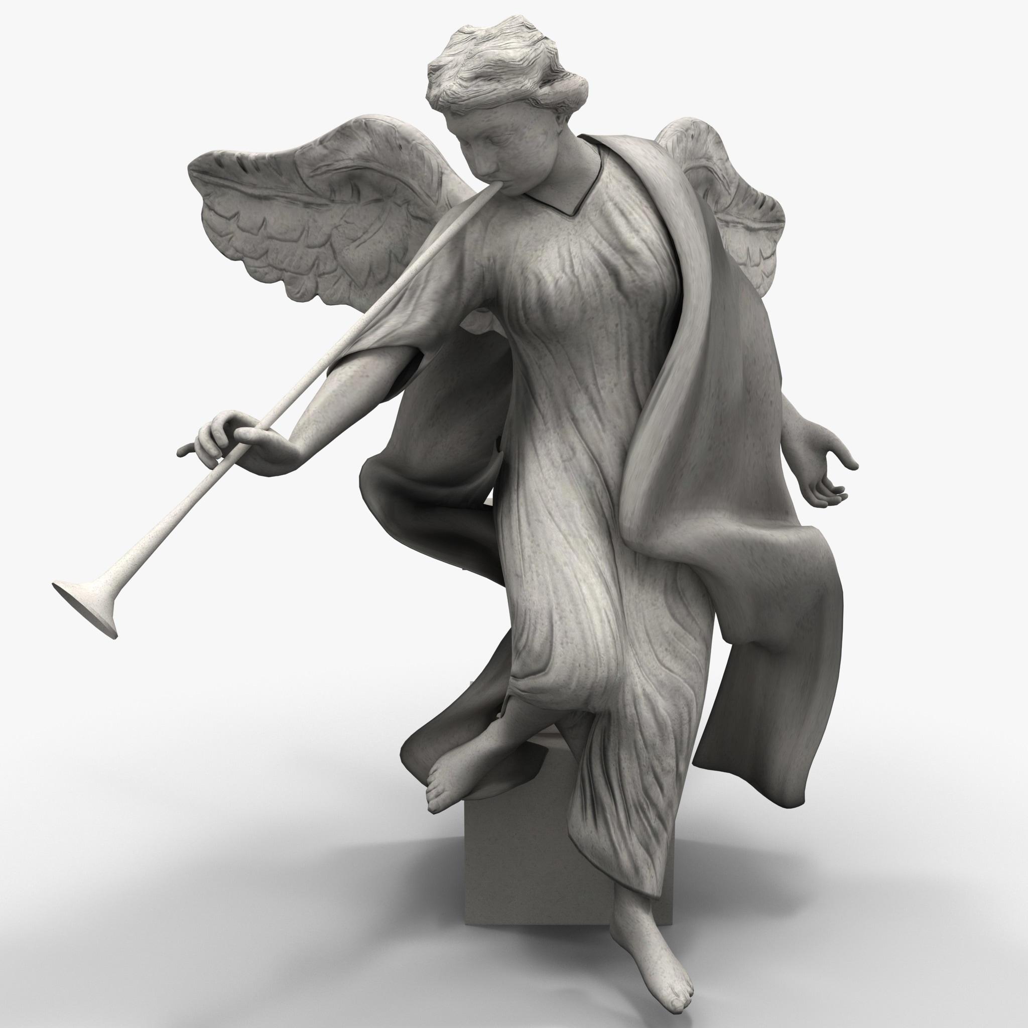 3d model angel statuette statue 4