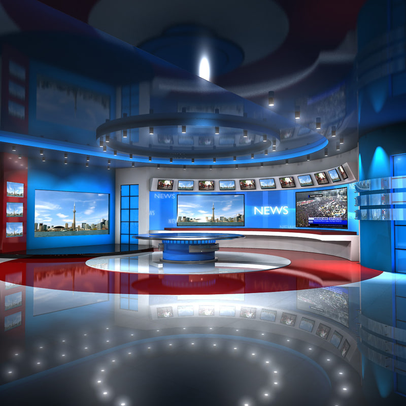 european virtual set news studio 3d model