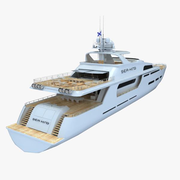 motor boat sea king 3d model