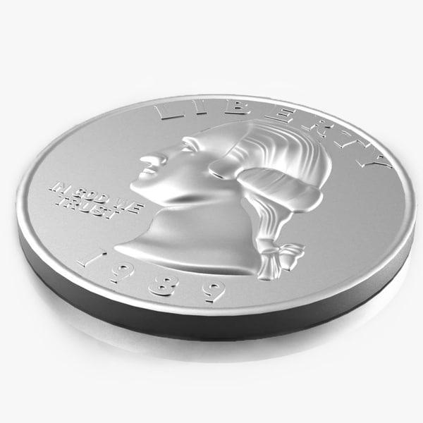 3d coins quarter 25 cent