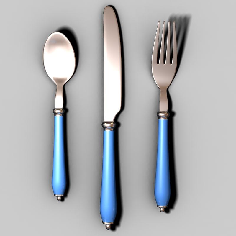 fork knife spoon obj