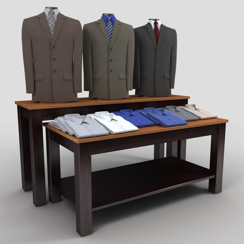 mens suits folded shirts 3d model