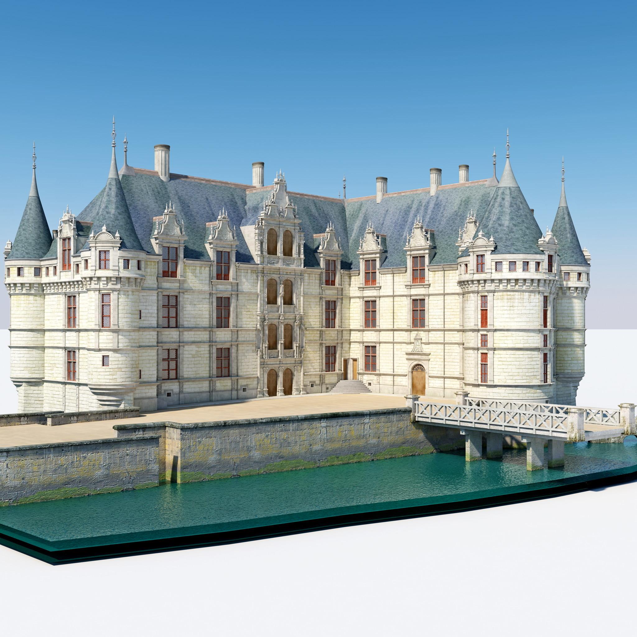 castle azay le rideau 3d model