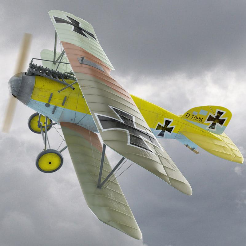 ww1 albatros diii fighter aircraft 3d model