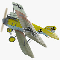 ww1 albatros diii fighter aircraft 3d model