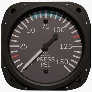 3d model oil pressure aircraft instrument