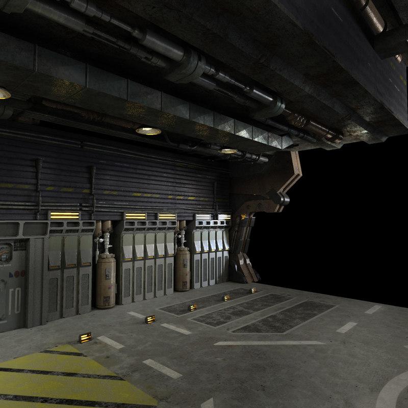 scifi hangar 3d model