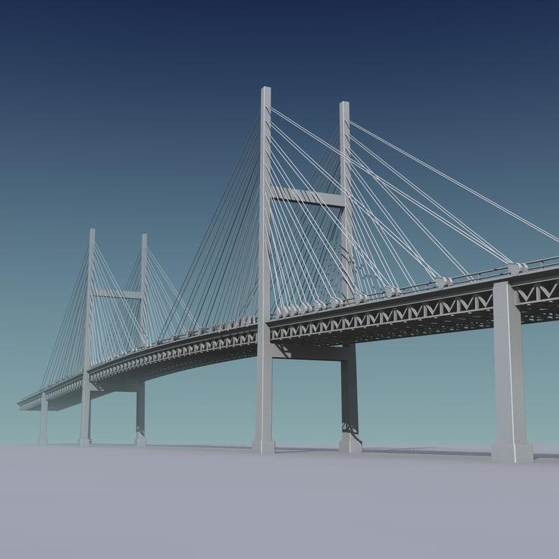 3d suspended bridge bay model