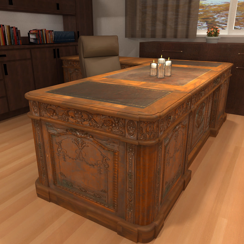 - Carved Wood Antique Office Desk 3d Model