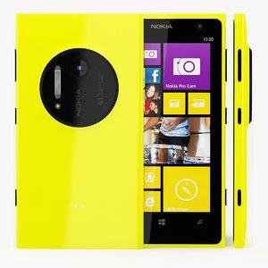 3d model nokia lumia 1020 yellow