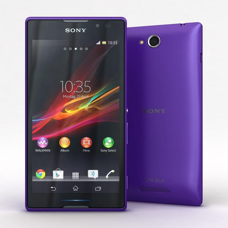 sony xperia c purple 3d model
