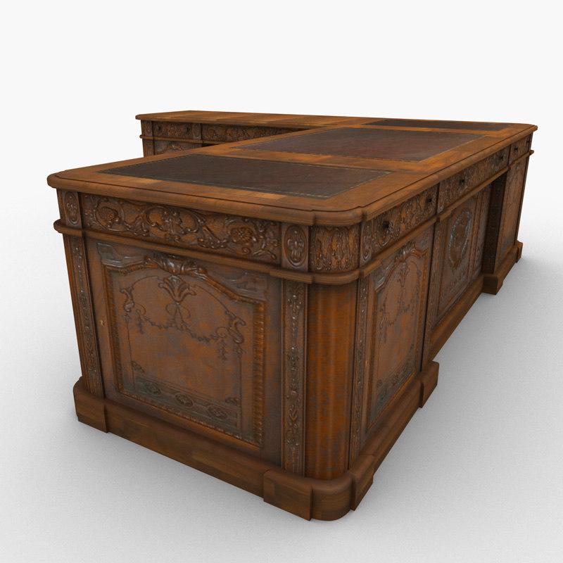 carved wood antique office desk 3d model - Wood Antique Office Desk 3d Model